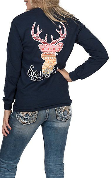 Girlie Girl Originals Navy With Red And Orange Aztec Deer