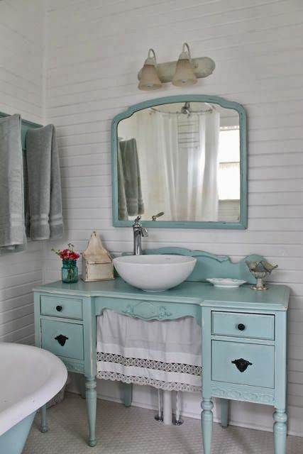 Aqua country cottage bathroom, furniture vanity. The Vintage House: Make The Vintage House Your Own