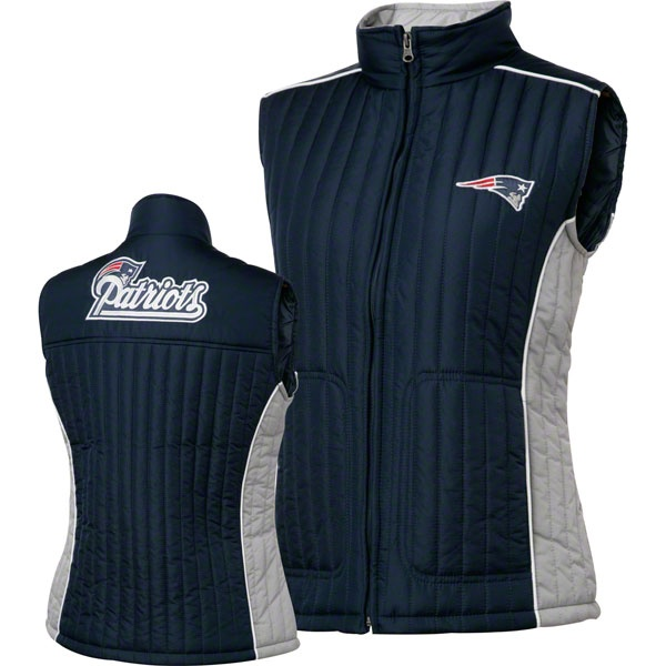New England Patriots Women's Navy Rally Quilted Vest