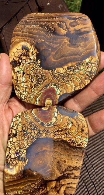0.67 kilo Massive Polished Split  Boulder Opal specimen BU 102 OPAL SPECIMEN WITH SO MANY BARS POTCH AND COLOUR VEINS