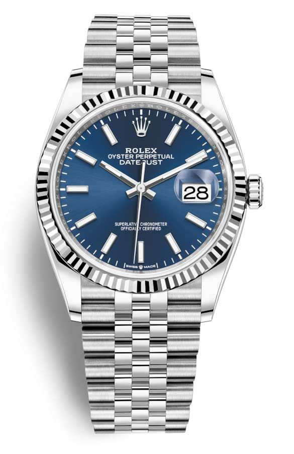 Rolex Datejust 36 Mm Fluted Bezel Stainless Steel White Gold Jubilee 126234bl World Of Luxury Worldofluxuryus Com Rolex Datejust Rolex Watches Rolex Watches For Men