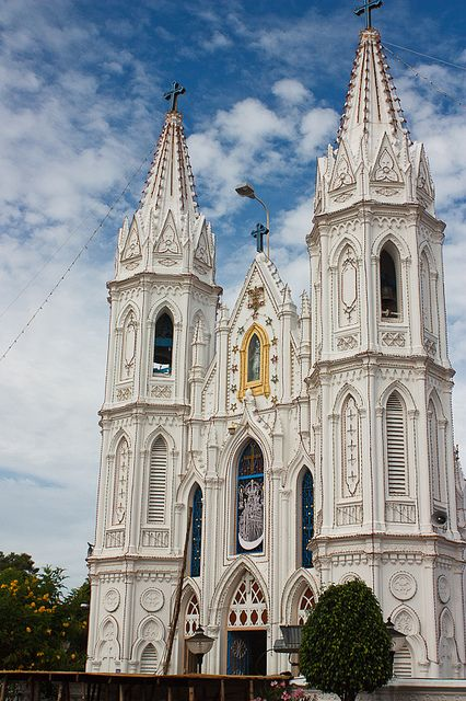 by melissaenderle on Flickr.  Basilica of Our Lady of Good Health in Velankanni, Tamil Nadu, India.