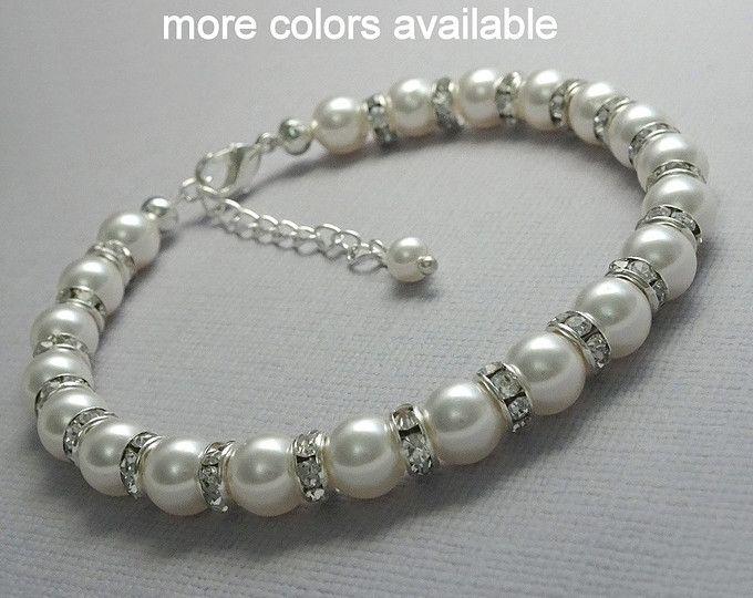 Pulsera de perlas blanca, Swarovski blanco brazalete de perlas, pulsera de Dama de honor, joyería de Dama de honor, boda pulsera, pulsera de regalo fiesta nupcial
