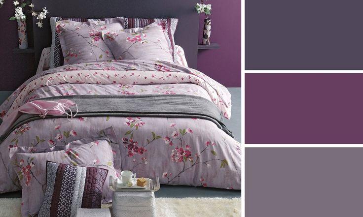 peinture chambre violette linge de lit
