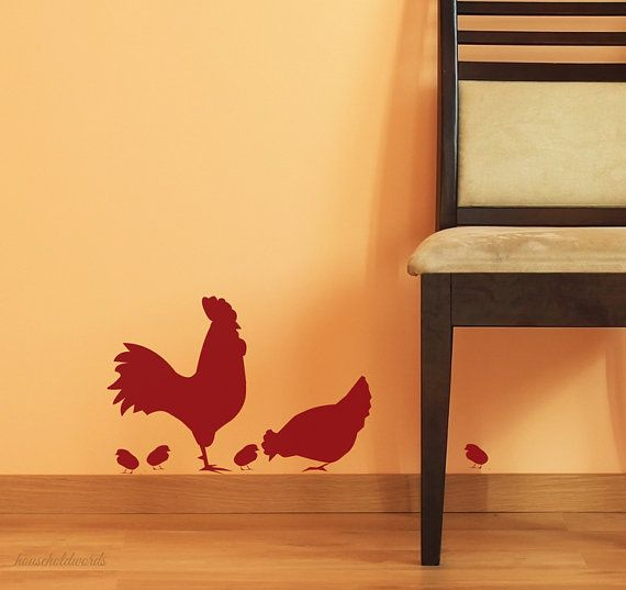 Kitchen Wall Decor Rooster Decal and Chicken with peeps vinyl sign wall art for home decor or Farm signage