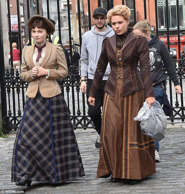 Back to the day job: Billie Piper reprised her Penny Dreadful role dressed in full Victorian costume as filming got underway in Dublin, Ireland, on Thursday