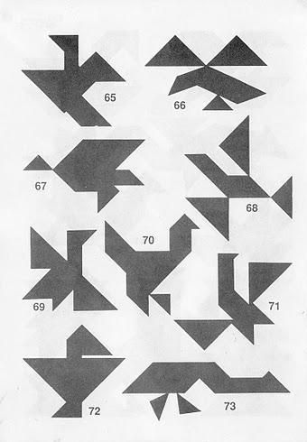 Figuras de pájaros Tangram con soluciones