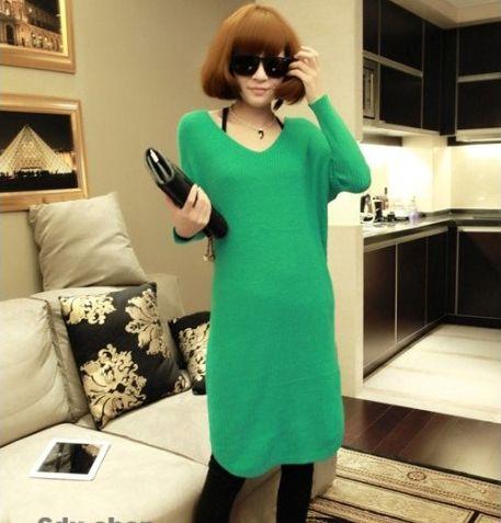 Women's New Green Long Sleeve Dress - 27244009