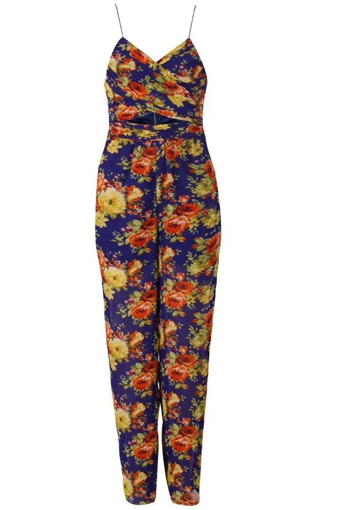 Granatowy Kombinezon W Kwiaty Fashion Jumpsuit Rompers