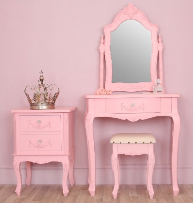 Pink vanity table set how cute kawaii pastel for Vanity table set
