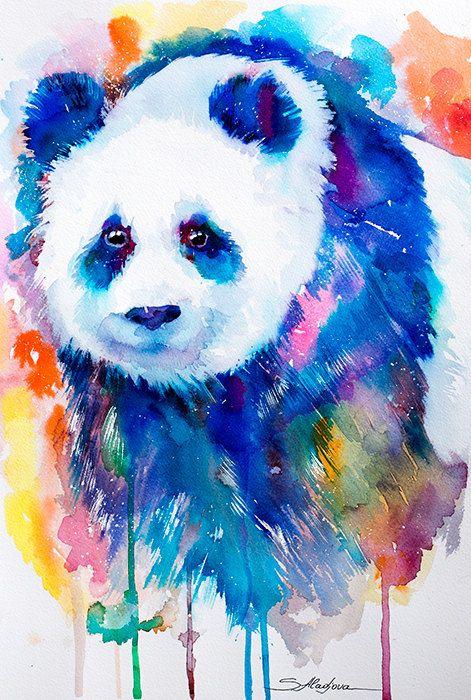 Original Aquarell Malerei-Panda Tier Illustration von SlaviART