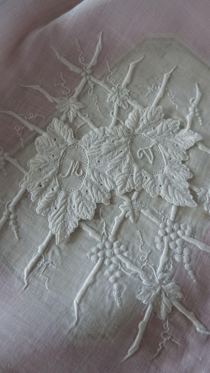 Exquisite antique French hand embroidered handkerchief monogram