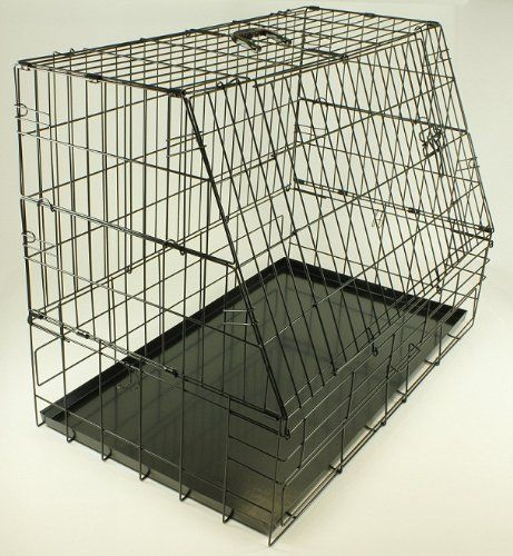 "Swell Sloping Puppy Cage, Folding Dog Crate with Removable Metal Tray, Slanted front for Hatchback Cars, Large 35"" black - http://dogcratesuk.pesonashop.co.uk/swell-sloping-puppy-cage-folding-dog-crate-with-removable-metal-tray-slanted-front-for-hatchback-cars-large-35-black/"