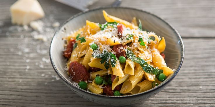 A delicious, simple pasta recipe by Luke Holder, combining juicy chorizo with fresh peas, parsley and Parmesan.