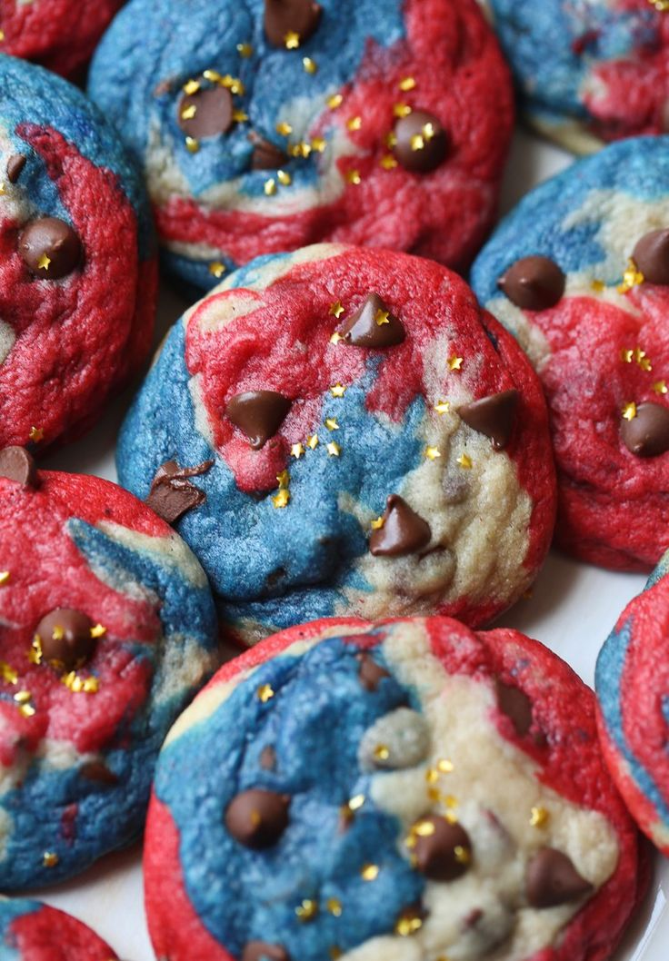 Patriotic Chocolate Chip Cookies! Red, White and Blue chewy chocolate chip cookies are easy and oh so festive!