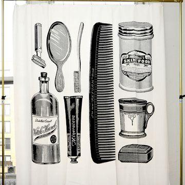 Apothecary Canvas CurtainDecor Ideas, Bathroom Happy, Boyfriends Bathroom, Bathroom Wall, Bathroom Ideas, Apothecaries Shower, Free Stuff, Shower Curtains, Canvas Curtains