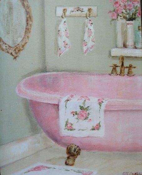 Listo para enmarcar Impresión - La garra patas bañera Pink - franqueo incluido Worldwide
