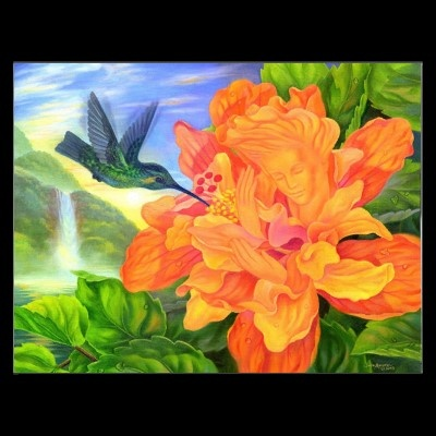 DID YOU SEE THE FACE??? Exchange Of Love - PostcardNature Painting, Beautiful Cards, Lotus Flower Painting, Painting Art, Art Postcards, Surrealism Landscapes, Greeting Cards, Note Cards, Prints Postcards