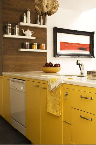 Mustard And Teal Kitchen Units