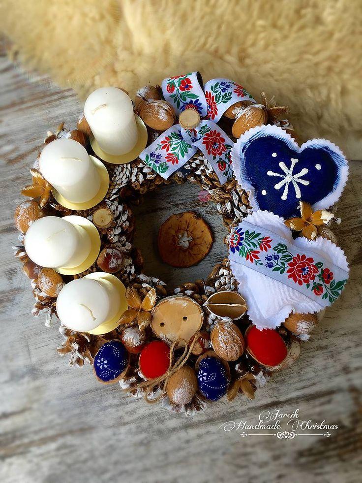 Dekorácie - Slovenské Vianoce {Folk adventný veniec}  - 7282798_
