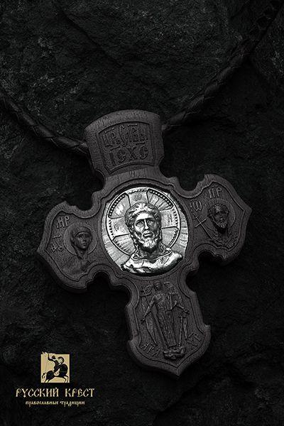 """Крест деревянный нательный православный. Спас нерукотворный. Ангел Хранитель. Чёрное дерево, серебро. Ювелирная компания """"Русский крест""""."""