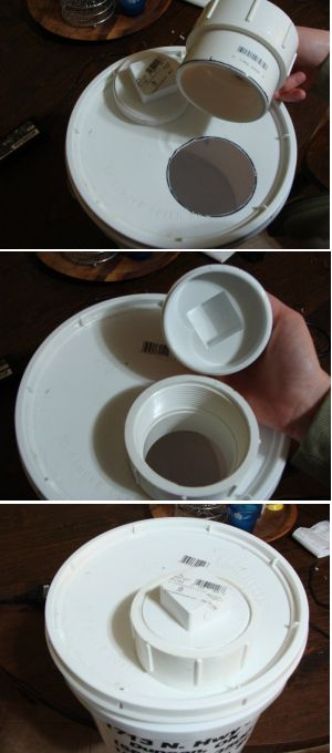 Step by step photos to make a homemade chicken waterer lid.