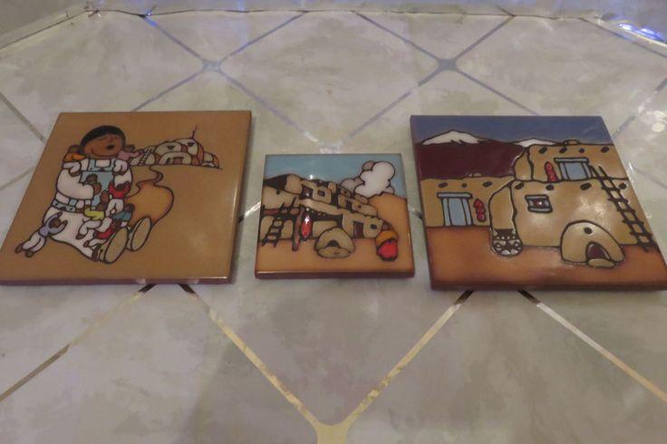 MASTERWORKS Handcrafted Art Tiles Set of 2 Trivets & 1 Coaster Southwestern  #MasterWorksHandcraftedArtCeramicTile #Southwesternstyle
