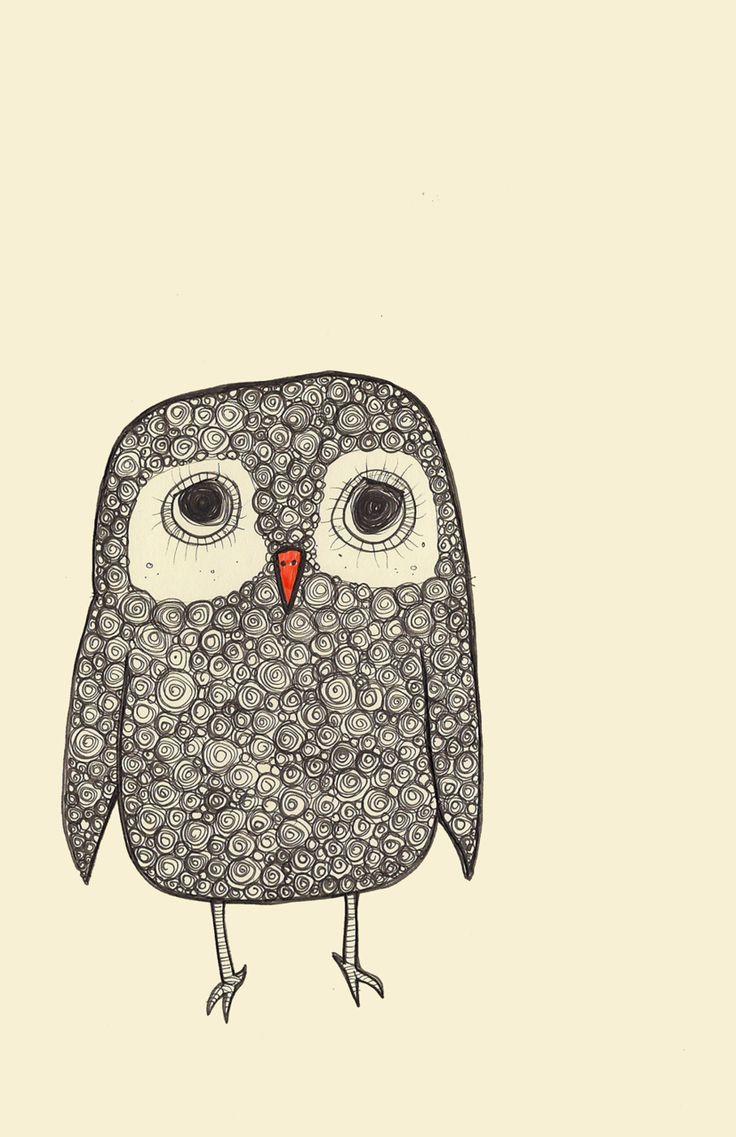 Owl drawing...he looks so sad! | owl | Pinterest