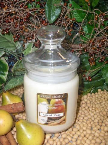 9.5 oz Apothecary Spiced Pear Scent Candle by Unique Aromas. $21.75. Spiced Pear scent. Price per jar candle. Candle color may vary from photograph. This candle is sure to bring joy and warmth to all those in the presence of it.Some assembly may be required. Please see product details.Some assembly may be required. Please see product details.
