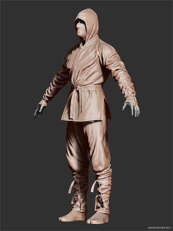 3d ninja character in ZBrush