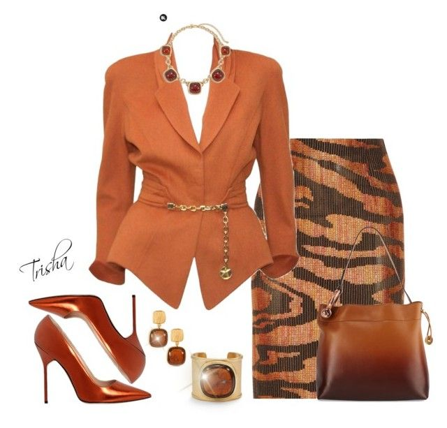 """""""Copper"""" by pkoff ❤ liked on Polyvore featuring Chico's, Missoni, Thierry Mugler, Manolo Blahnik and Tom Ford"""