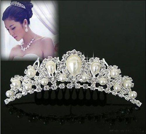 Элегантный Имитация Перла Rhinestone декор Свадебные Короны Tiara Свадьба Невеста Ювелирные Изделия Волос Гребень LZH7