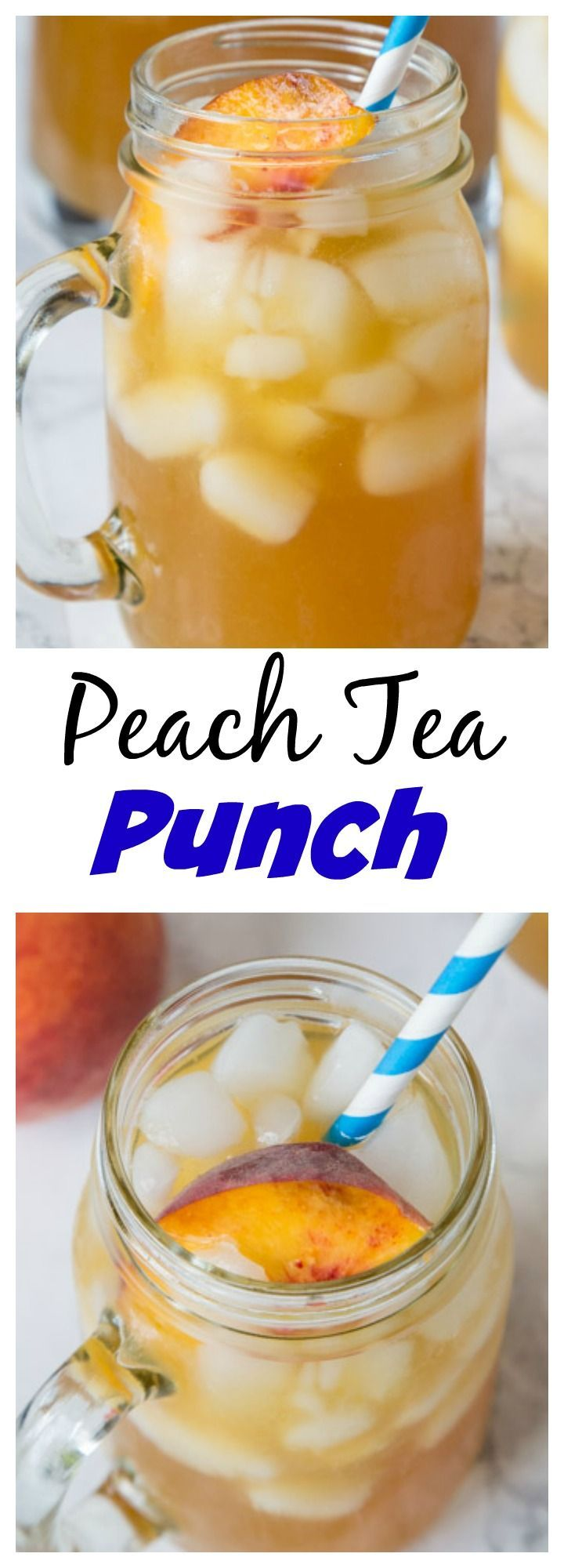 Peach Tea Punch – a refreshing and summery punch that is perfect for hot days!  And even better with fresh summer peaches.