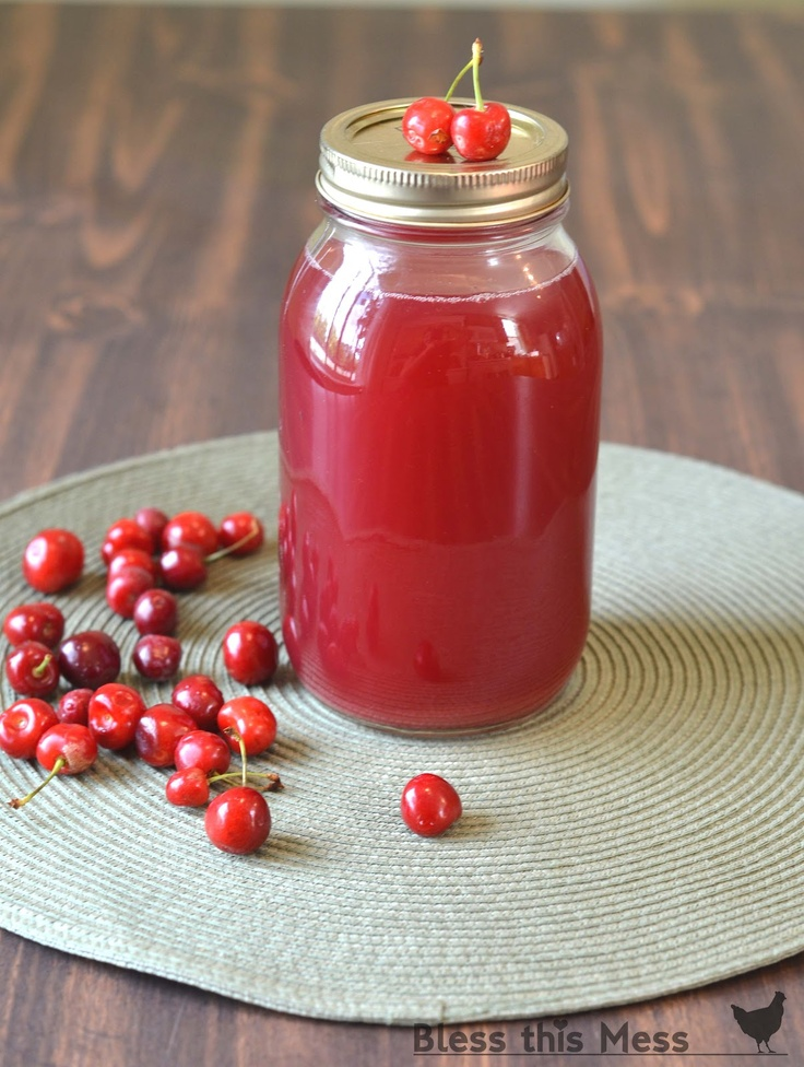 Homemade cherry juice - perfect for drinking, jellies, and syrup. Bottled to save for winter -no artificial anything!
