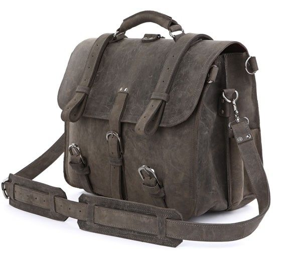 "Leather Briefcase Backpack Grey 16,5"" via Vintage Leather Bags. Click on the image to see more!"