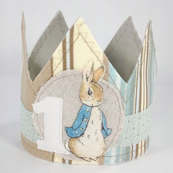 Shabby Chic Peter Rabbit birthday crown first by Hartranftdesign