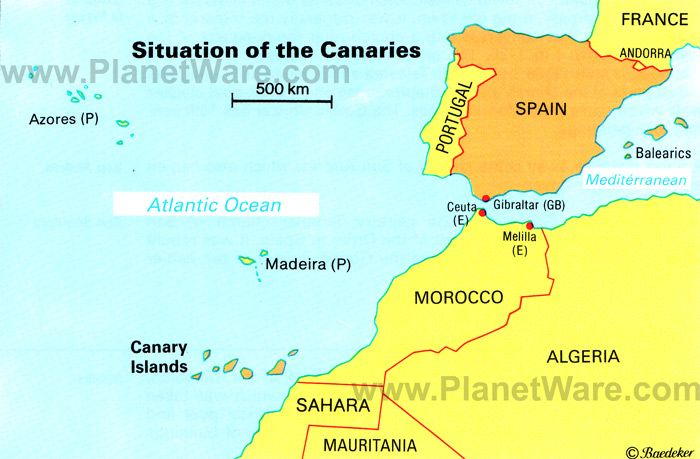 The location of the Canary Islands belong to Spain but are ...