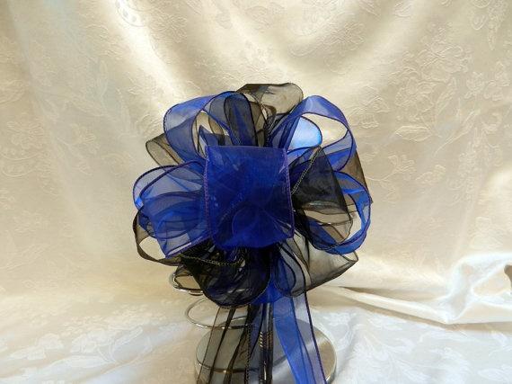 Royal Blue and Black Wedding/ Pew Bows set of by creativelycarole, $90.00