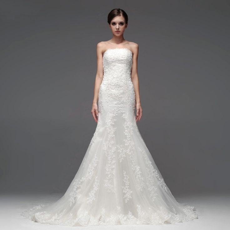Strapless Trumpet/Mermaid charming bridal gown I would just add some sleeves.
