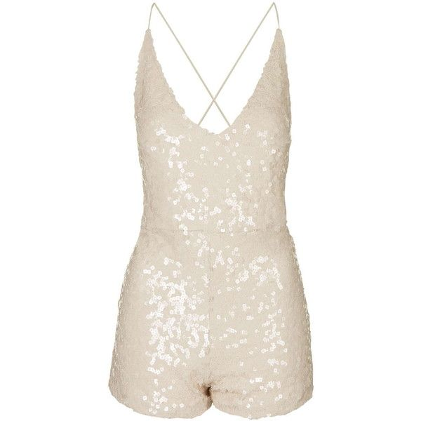 **Vanille Playsuit by Motel (€86) ❤ liked on Polyvore featuring jumpsuits, rompers, gold, plunge romper, sequin rompers, motel romper, pink rompers and sequin romper