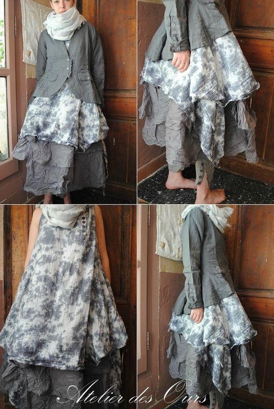 MLLE NUAGE : Veste en lin gris, tunique sans manche, jupon gris, sarouel en lin EWA IWALLA