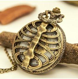 Vintage Skeleton Pocket Watch Necklace