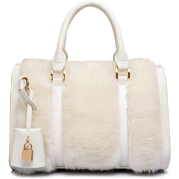 Solid Color Faux Fur Metal Tote Bag ($33) ❤ liked on Polyvore featuring bags, handbags, tote bags, faux fur purse, pink tote bag, metal tote, pink purse and faux-fur handbags