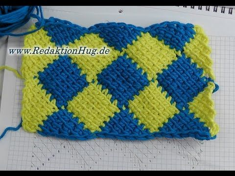 How to crochet Valley Yarns 404 Playing Blocks Blanket: tips for tunisian crochet entrelac - YouTube