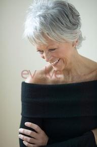 Natural beauty and soft gray hair.
