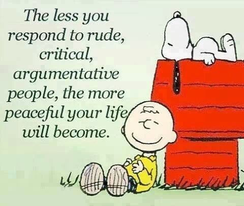The less you respond to rude, critical, argumentative people, the more peaceful your life will become. Peanuts