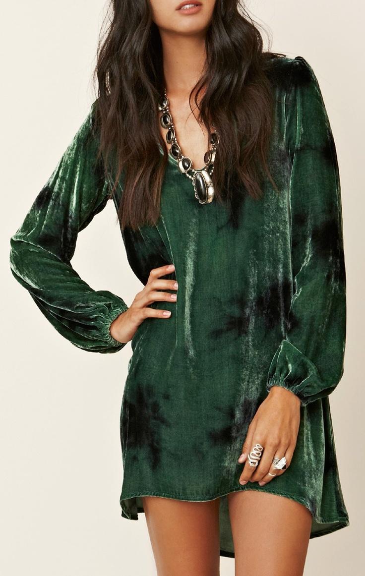 Green Velvet Bell Sleeve Dress