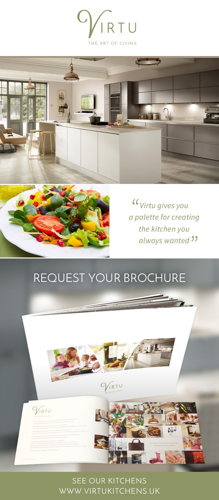 For inspirational kitchen design ideas order Your Free Virtu Kitchens Brochure Today! Includes Helpful Tips & a Step-By-Step Guide To Creating Your Perfect Kitchen. #TheArtOfLiving
