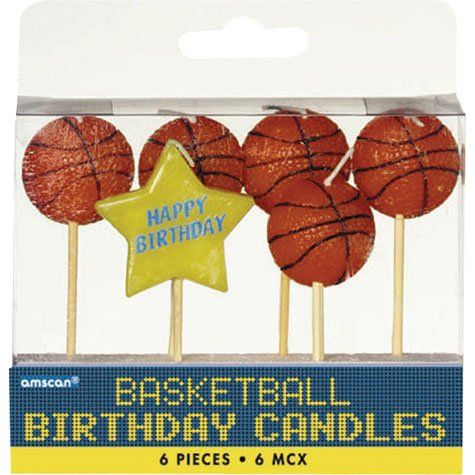 Basketball Birthday Candles 6pc