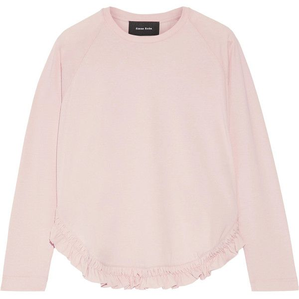 Simone Rocha Smock Frill T-Shirt ($235) ❤ liked on Polyvore featuring tops, t-shirts, pink, smock top, ruched tee, ruffle t shirt, pink tops and pink t shirt